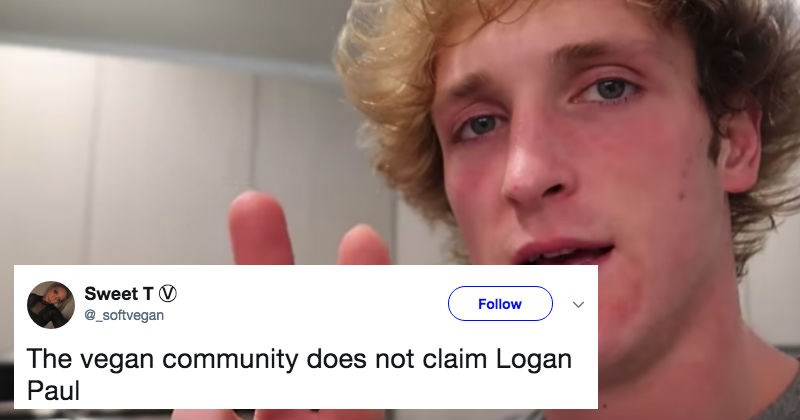 youtuber logan paul rejected by the vegan community
