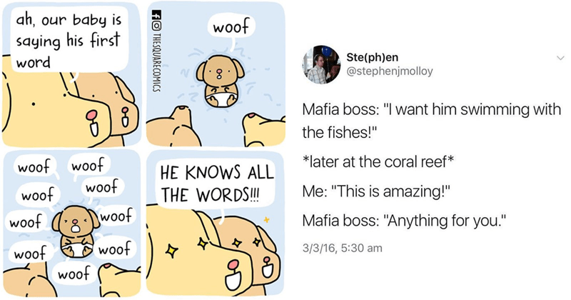 Wholesome memes and tweets, wholesome comics. dogs.