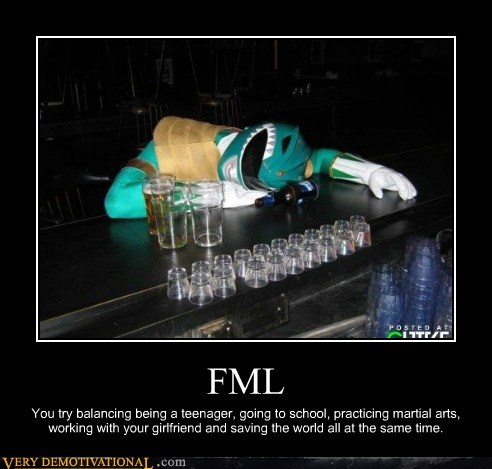 booze drunk fml green power ranger hilarious tommy - 5671194368