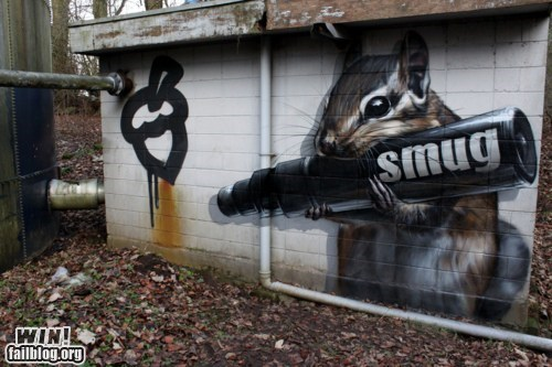 art,clever,graffiti,hacked irl,smug,squirrel,Street Art