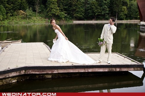 bride,dock,funny wedding photos,groom
