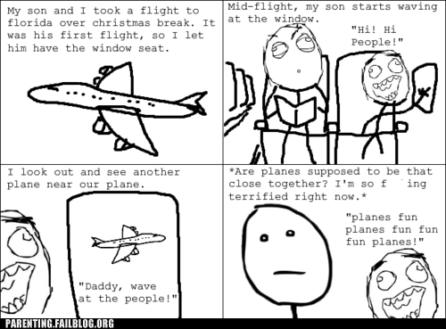 Father nervous Parenting Fail plane rage comic scared son