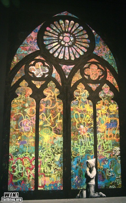 art,banksy,church,graffiti,hacked irl,religion,Street Art