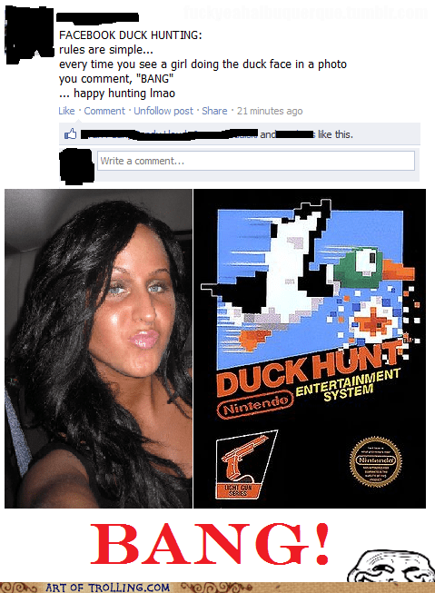 bang,duck face,duck hunt,facebook