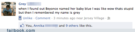 baby name beyoncé blue facebook failbook g rated Jay Z