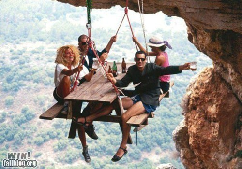 dont-look-down,Hiking,picnic,stunt,table,vertigo