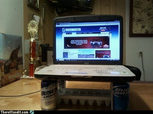 beer,cooling,Hall of Fame,holding it up,laptop repair