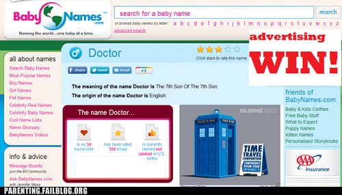 baby baby names doctor who nerdgasm Parenting Fail - 5674072064