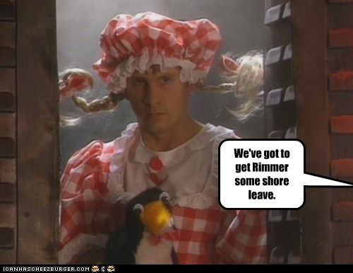 angry chris barrie crazy crossdressing penguin red dwarf Rimmer shore leave - 5674310912