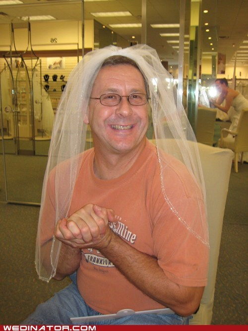 dads,father of the bride,funny wedding photos,veil