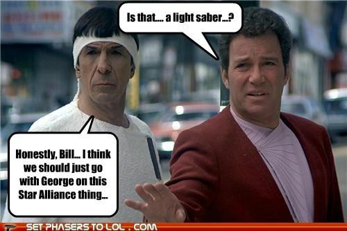 alliance,bill,Captain Kirk,george takei,Leonard Nimoy,light saber,Shatnerday,Spock,Star Trek,William Shatner