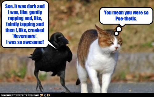 See, it was dark and I was, like, gently rapping and, like, faintly tapping and then I, like, croaked 'Nevermore'. I was so awesome! You mean you were so Poe-thetic.