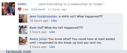 break up jerk oh snap relationship status text