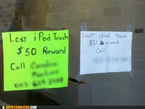 auction bid ipod touch lost ipod reward sign - 5675844096