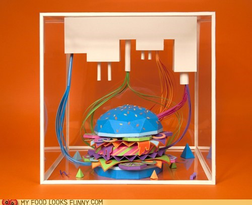 art blue burger craft neon paper
