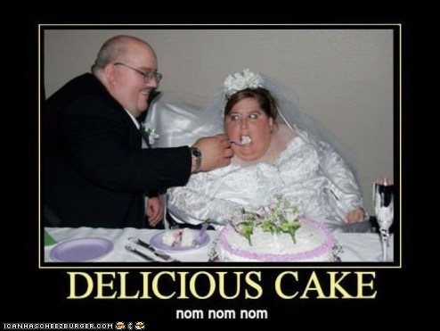 eat,eating,fat man,fat woman,food,gross,husband,married,obese,overweight,wedding,wedding cake,wife