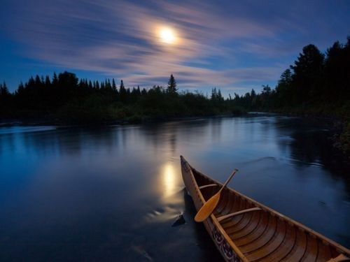 allagash river,canoe,getaways,maine,moon,night,night photography,north america,river,united states,water
