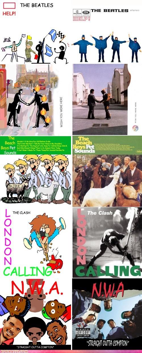 art,funny,Music,NWA,pink floyd,the beach boys,the Beatles,the clash