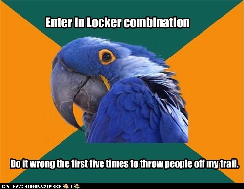 birds,combination,lockers,locks,misdirection,paranoid,Paranoid Parrot,parrots