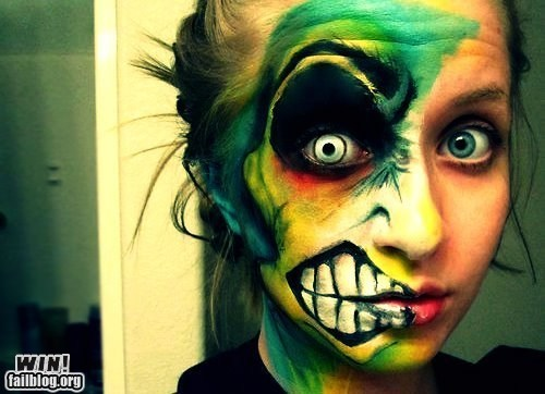 classic,design,face paint,makeup,two face
