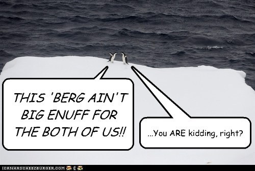 THIS 'BERG AIN'T BIG ENUFF FOR THE BOTH OF US!! ...You ARE kidding, right?