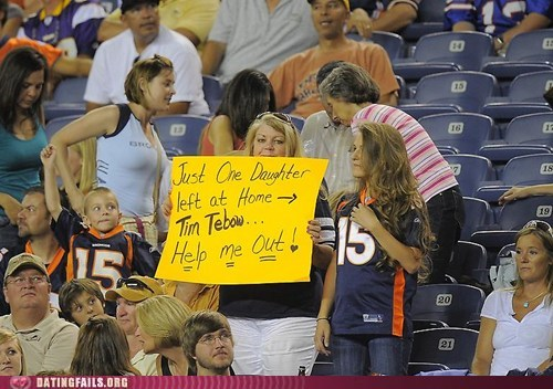 fan,football,mom,sign,single,tim tebow