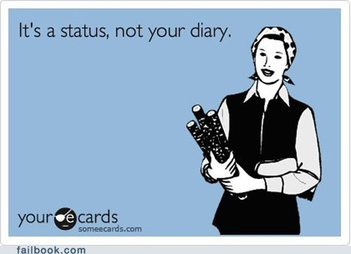 diary ecard facebook failbook g rated Overshare status