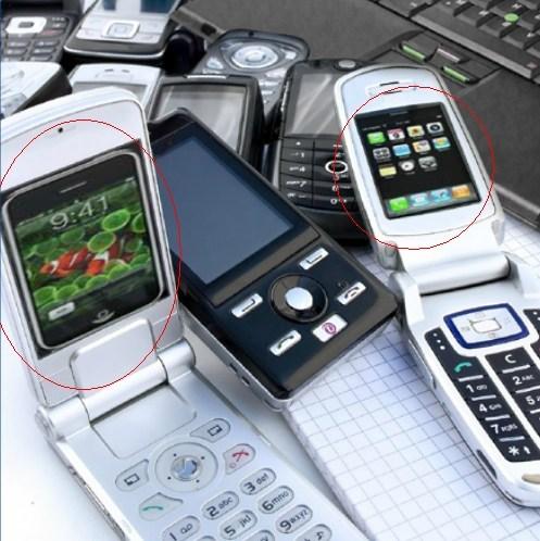 flip phones iPhones motorola Samsung screen
