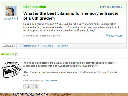 homework,memory,suppliments,Yahoo Answer Fails