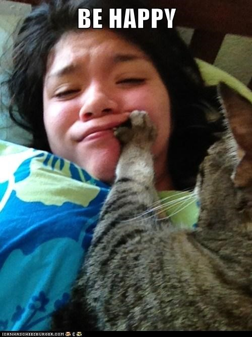 be caption captioned cat Command happy human paw pushing smile - 5677754368
