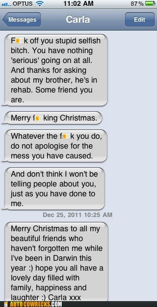 argument bi polar christmas insult mass text nasty