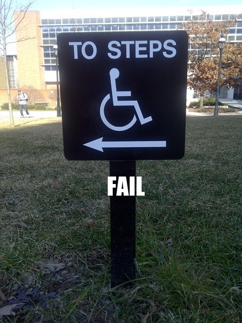 Caring about the handicapped FAIL