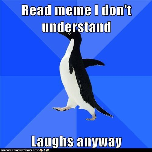 Awkward,dont get it,laugh,laughing,Memes,penguins,socially awkward penguin,what