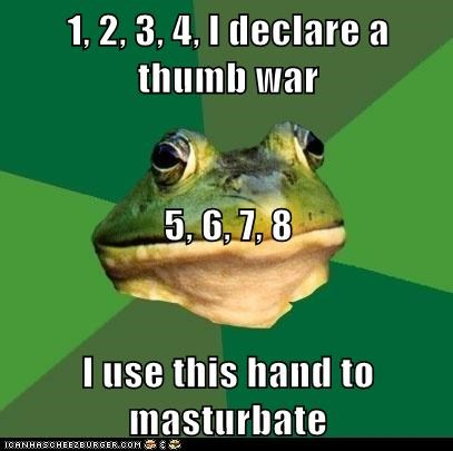 bachelors foul bachelor frog frogs gross hands masturbation thumb war - 5679727104