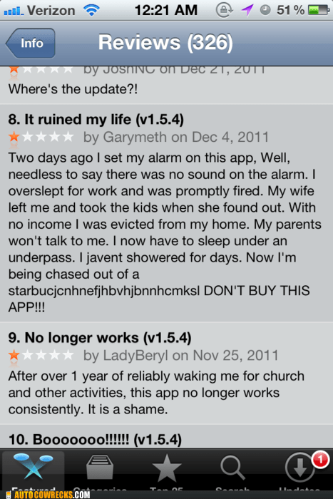 alarm,App,app review,boss,fired,homeless