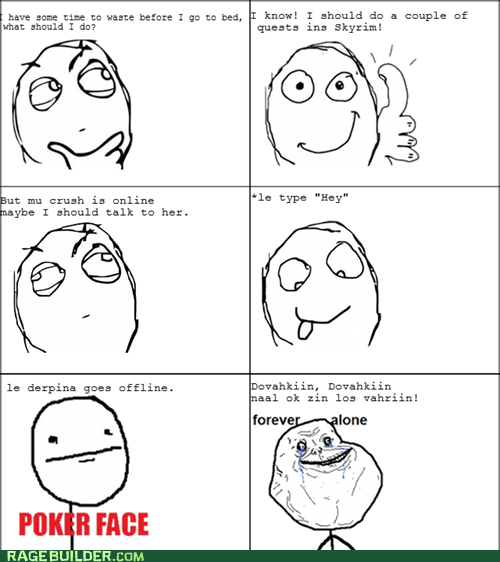 forever alone,poke face,Rage Comics,Skyrim