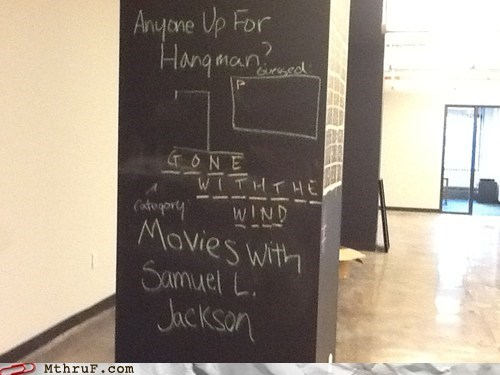 chalkboard,gone with the wind,hangman,Samuel L Jackson