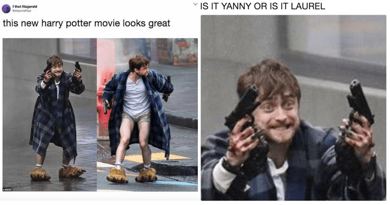 Funny memes of Daniel Radcliffe filming Guns Akimbo, daily mail, twitter memes, harry potter memes.