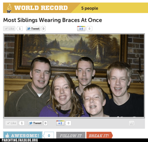 braces,expensive,oh god why,Parenting Fail,record,siblings,world record