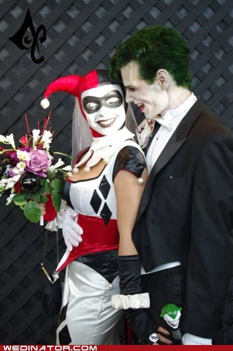 batman,funny wedding photos,Harley Quinn,joker