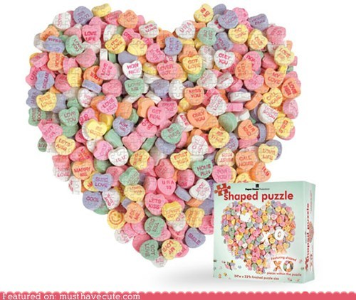 candy hearts cardboard jigsaw puzzle puzzle Valentines day - 5680453120