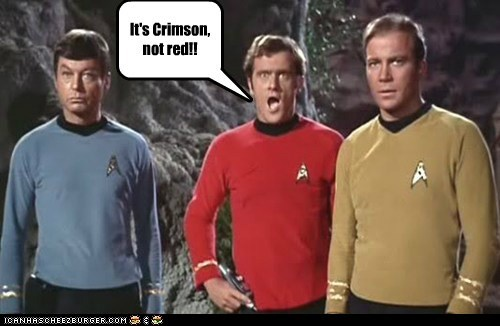 Captain Kirk,crimson,DeForest Kelley,McCoy,red shirt,Shatnerday,Star Trek,William Shatner