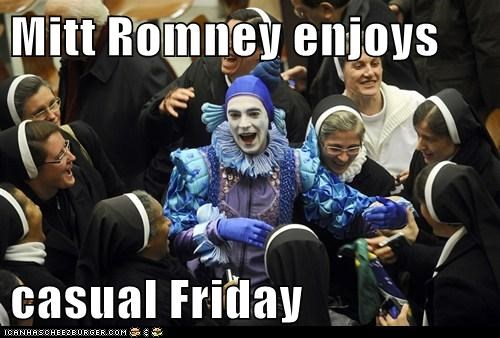 casual friday,clown,Mitt Romney,nuns,political,politics,presidential campaign,Pundit Kitchen,republican,Republicans