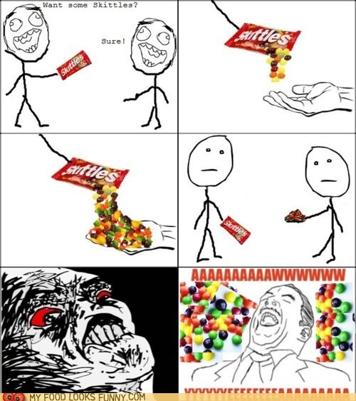 every time pour rage comic share skittles
