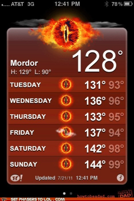 Heat,iphone app,Lord of the Rings,mordor,mount doom,sauron,weather
