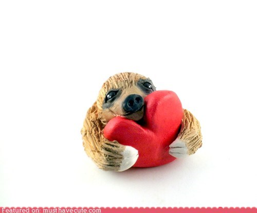 art etsy handmade heart sloth sulpture - 5681294592