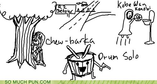 bark characters chew chewbacca detour drum Han Solo kobe bryant obi-wan kenobi original r2d2 similar sounding sketches star wars - 5682189312