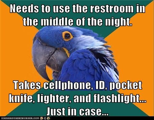 bathroom,birds,just in case,night,over-prepared,paranoid,Paranoid Parrot,parrots,preparation,prepared,scared