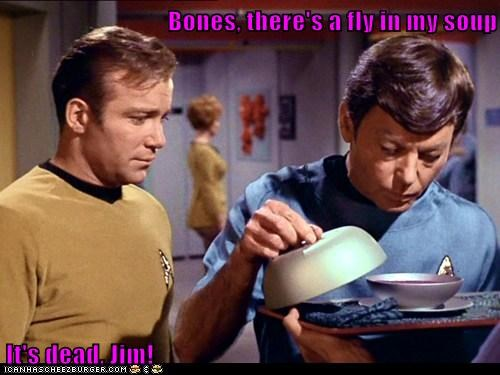 bones Captain Kirk DeForest Kelley fly its-dead McCoy Shatnerday soup Star Trek waiter William Shatner