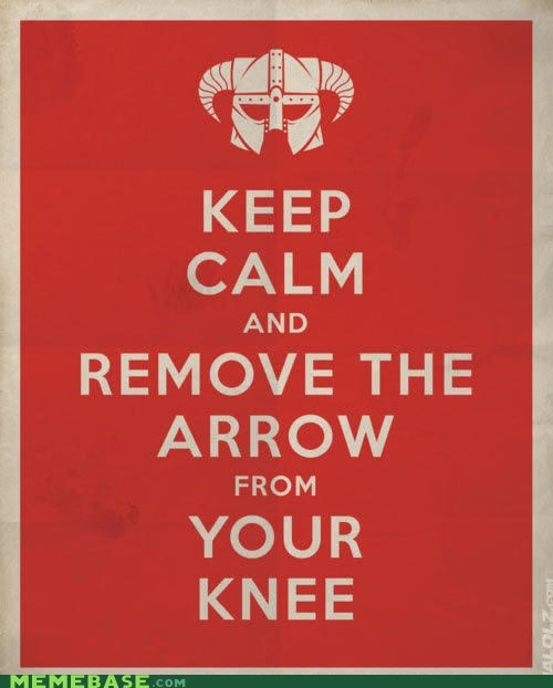 arrow fus ro dah fuss keep calm knee Memes Skyrim video games - 5682392832